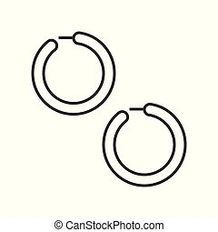 huggie or hoop earring, jewelry related, outline icon