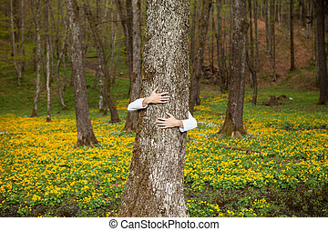 Hugging a tree in nature