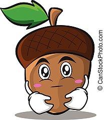 Hugging acorn cartoon character style
