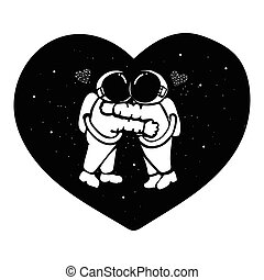 Hand drawn astronaut couple hugging in the space with stars form in hearted shape for t shirt design, design element and wedding card.