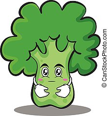 Hugging broccoli chracter cartoon style
