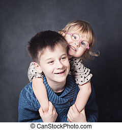 Hugging Children. Brother and Sister