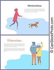 Hugging Couple and Gir with Dog Wintertime Vector