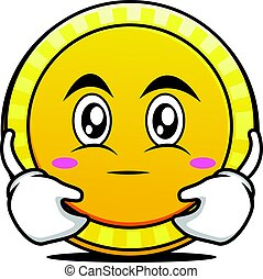 Hugging face coin cartoon character