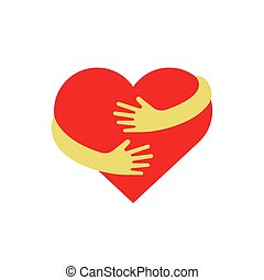 Hugging heart symbol. Hug yourself logo. Love yourself vector flat illustration isolated on white background.