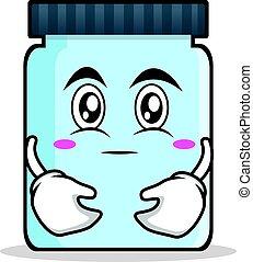 Hugging jar character cartoon style
