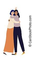 hugging., jeune, heureux, femme, femmes, friends., fin, amitié, caractères, réunion, divers, filles