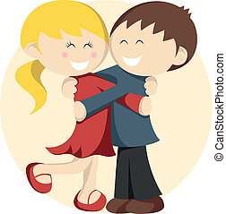 - Two lovely little kids are embracing in red and blue. - Sweet illustration for presentations, commercials, advertisements, personal items' decoration or web design. - Use it for illustrate couples in love (Valentine's day, engagement party invitation maybe), family members, relationship or ...