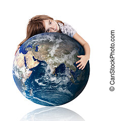 Hugging our world - Little girl hugging the planet earth...