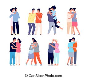 Hugging people. Embracing person, friends support each other. Couple in love hug together, isolated students utter friendship vector set