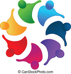 Hugging teamwork people logo