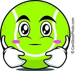 Hugging tennis ball cartoon character