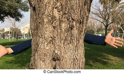 Hugging trees in nature - Protecting the environment concept...