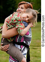 Hugging with my mother