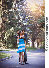 Hugging young couple portrait