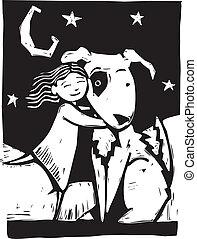 Huggy Dog - Girl gives a really big dog a hug.