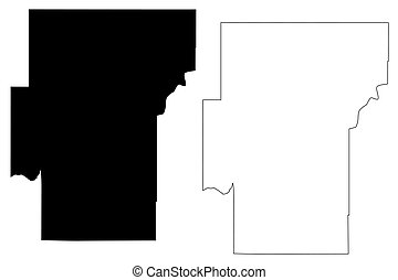 Hughes County, Oklahoma State (U.S. county, United States of America, USA, U.S., US) map vector illustration, scribble sketch Hughes map