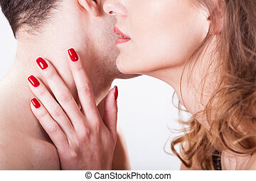 Huging and kissing lovers on isolated background