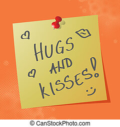 hugs and kisses on sticky paper
