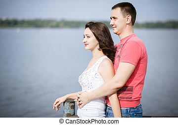 Hugs, couple, red