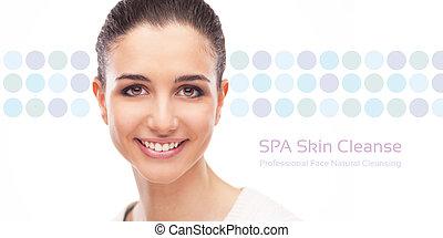 huid, spandoek, zuivering, care, gezicht