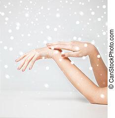 huid, zacht, vrouwenhanden