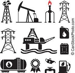 huile, électricité, essence, symboles