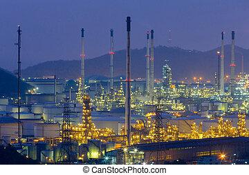huile, aérien, sur, raffinerie, nuit, vue
