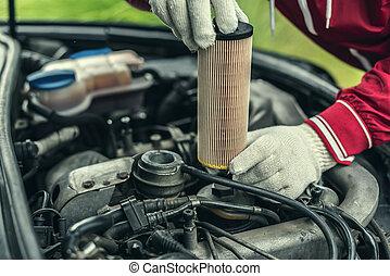 huile, auto, filter., remplace, mécanicien, car's
