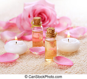 huile, bouteilles, rose, aromatherapy., spa, essentiel