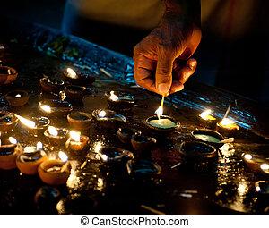 huile, brûlé, gens, hindou, rituel, inde, lampes, temple., religieux