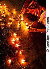 huile, brûlé, gens, hindou, rituel, lampes, religieux, temple