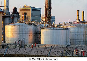 huile, canaux transmission, -, usine, raffinerie, réservoirs
