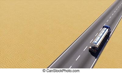 huile, capable, animation, camion, route, désert, boucle, 3d