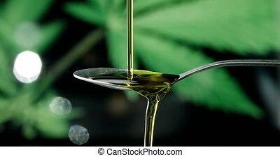 huile, chanvre, cuillère, tomber, cbd