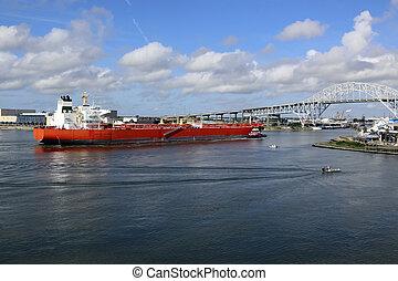 huile, christi, bateau, entrer, corpus, pétrolier, port, texas