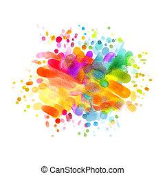 huile, coloré, résumé, tache, vide, painting.