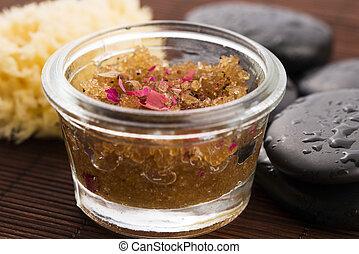 huile corps, rose, peler, sucre, fait maison, pétale, olive