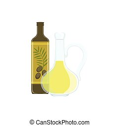 huile, cuisson, équipement, processus, isolé, article, olive, cuisine