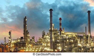 huile, défaillance, -, raffinerie, coucher soleil, temps
