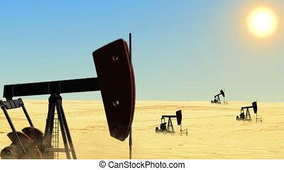 huile, désert, puits