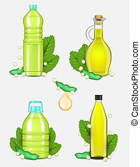 huile, ensemble, illustration, réaliste, vecteur, bouteille, soja