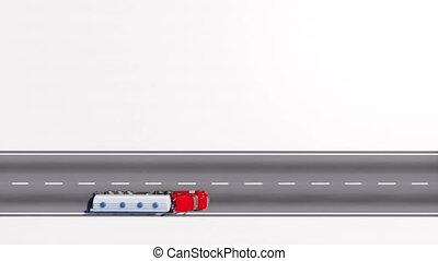 huile, espace, camion, fond, blanc, copie, route