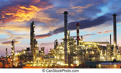 huile, essence, industrie, -, usine, raffinerie, crépuscule