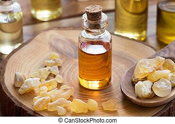 huile, essentiel, bouteille, encens, résine