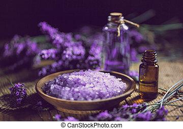 huile essentielle, sel, lavande, bain
