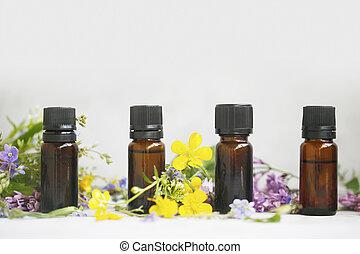 huile, herbier, usines, bouteilles, essentiel, fleurs, ...