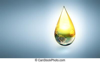 huile, intérieur, goutte, mondiale