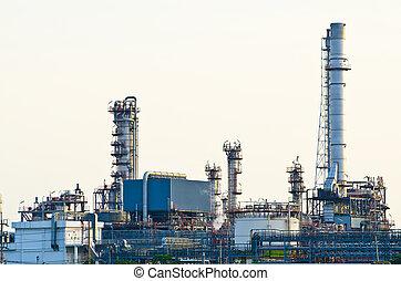 huile, matin, raffinerie, usine, scène