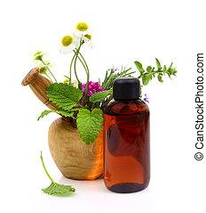 huile, mortier, herbes, bouteille, pilon, frais, essentiel